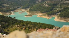 Landscape with a lake in the mountain village of Guadalest, Alicante Spain Stock Footage