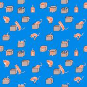 Cartoon cats in boxes seamless pattern - stock illustration