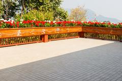 flowerbed decorating on the terrace - stock photo