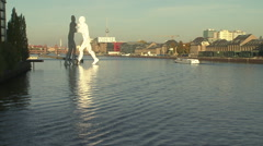 Berlin's Molecule Man, a sculpture symbolizing the unity of West and East Berlin Stock Footage
