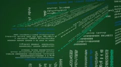 Code - in an advanced interface - vertical - horizontal - lines green 02 Stock Footage