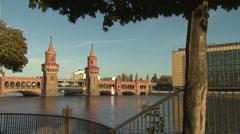 The Oberbaum Bridge, a bridge crossing Berlin's River Spree Stock Footage