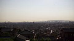 Osaka city timelaps from Mt Ikoma. Stock Footage
