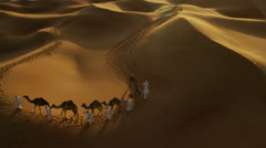 Aerial drone of camel train travelling across a Middle Eastern desert Stock Footage