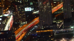 A Timelapse aerial of traffic Toronto, Canada at night Stock Footage