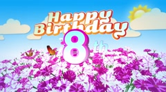 Happy 8th Birtday in a Field of Flowers Stock Footage