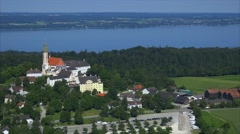 Germany, Bavaria, Upper Bavaria, Aerial View of andechs abbey - stock footage