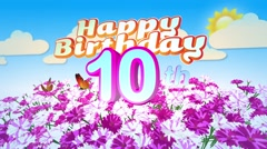 Happy 10th Birtday in a Field of Flowers Stock Footage