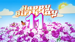 Happy 11th Birtday in a Field of Flowers Stock Footage