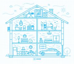 Flat big house silhouette blue - stock illustration