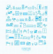 Furniture flat icons blue - stock illustration