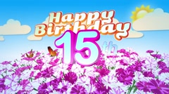 Happy 15th Birtday in a Field of Flowers Stock Footage