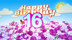 Happy 16th Birtday in a Field of Flowers Stock Footage