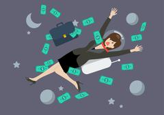 Greedy business woman floating in the space - stock illustration
