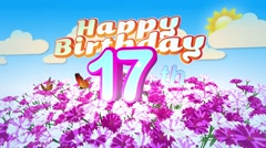 Happy 17th Birtday in a Field of Flowers - stock footage