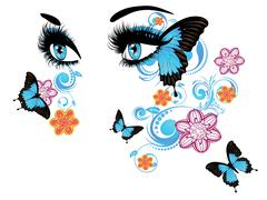 Summer Eyes with Floral - stock illustration