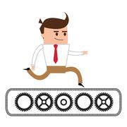 businessman running over gears icon - stock illustration