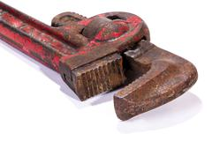 Rusty Well Used Red Monkey Wrench Spanner Jaws Stock Photos