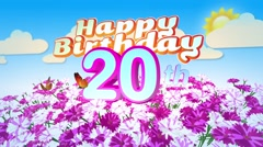 Happy 20th Birtday in a Field of Flowers Stock Footage