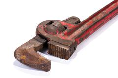 Well Used Red Monkey Wrench Spanner and Jaw Mechanism - stock photo