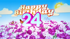 Happy 24th Birtday in a Field of Flowers Stock Footage