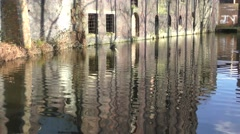 derelict industrial architecture old flour mill panning up - stock footage