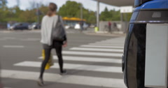 People crossing the road on zebra - stock footage