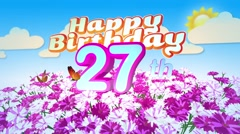 Happy 27th Birtday in a Field of Flowers Stock Footage