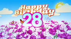 Happy 28th Birtday in a Field of Flowers Stock Footage