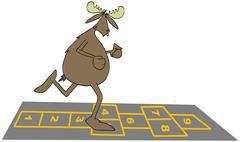 Bull moose playing hopscotch Stock Illustration