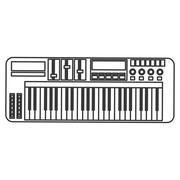 electronic piano keyboard icon - stock illustration