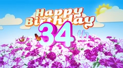 Happy 34th Birtday in a Field of Flowers Stock Footage