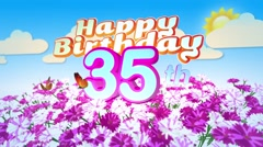 Happy 35th Birtday in a Field of Flowers Stock Footage