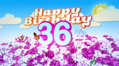 Happy 36th Birtday in a Field of Flowers Stock Footage