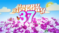 Happy 37th Birtday in a Field of Flowers Stock Footage