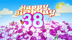 Happy 38th Birtday in a Field of Flowers Stock Footage