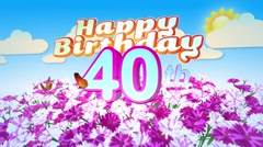 Happy 40th Birtday in a Field of Flowers Stock Footage