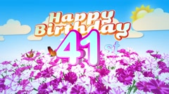 Happy 41st Birtday in a Field of Flowers Stock Footage