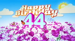 Happy 44th Birtday in a Field of Flowers Stock Footage
