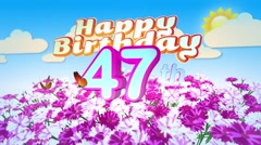 Happy 47th Birtday in a Field of Flowers Stock Footage