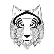wolf icon. Animal and Ornamental predator design. Vector graphic - stock illustration