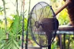 close up of fan outdoors - stock photo