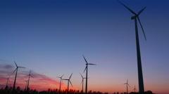 Windmills in the Twillight Stock Footage