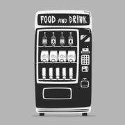 Vintage vending machine with drinks. Retro style. Purchase of water - stock illustration