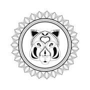 Tiger icon. Animal and Ornamental predator design. Vector graphi Stock Illustration