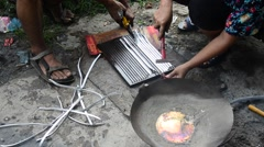 Thai people lead Ingots in pot local thai style Stock Footage