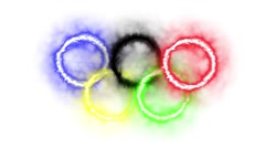 Olympic Rings WhiteBG Stock Footage