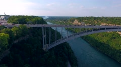 Aerial of Bridge Over Niagara Gorge Between Canada and United States Stock Footage
