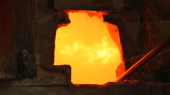 Firing glass in a hot oven - stock footage