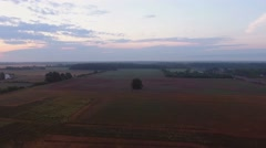 Aerial Sunrise Over Rural Farm Country - stock footage